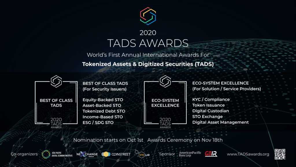 TADS Awards — The World's First Annual International Awards for Tokenized Assets & Digitized Securities Launched in Hong Kong